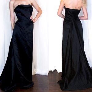 David's bridal black satin dress